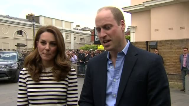 exterior shot of the duke and duchess of cambridge conducting a brief interview in which prince william accidently referes to catherine as an uncle... - prinz william herzog von cambridge stock-videos und b-roll-filmmaterial