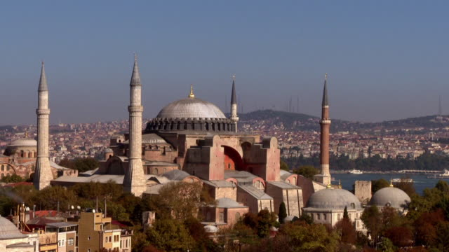exterior shot of the hagia sophia in istanbul. - hagia sophia istanbul stock videos & royalty-free footage