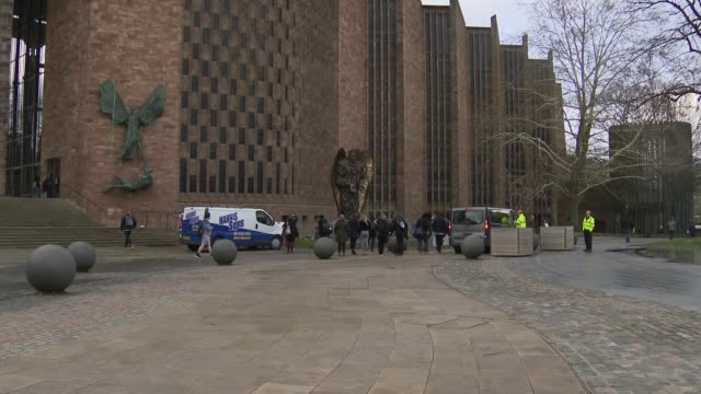 exterior shot of the knife angel a 27ft sculpture made out of 100000 surrendered knives temporarily installed at coventry cathedral on 14 march in... - knife weapon stock videos and b-roll footage