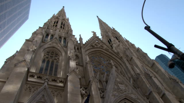 Exterior shot of the newly renovated facade of St Patrick's Cathedral on 5th Avenue Manhattan NYC