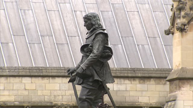 exterior shot of the statue of oliver cromwell designed by hamo thornycroft and erected outside the house of commons in 1899. on may 18, 2016 in... - 1899 stock videos & royalty-free footage