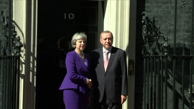 Exterior shot of Theresa May PM receiving Turkish President Recep Tayyip Erdogan at Number Ten on 15 May 2018 in London United Kingdom