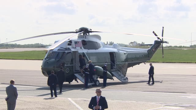 exterior shot of us president donald trump and us first lady melania trump boarding marine one at stansted airport in london as they begin a threeday... - state visit stock videos & royalty-free footage