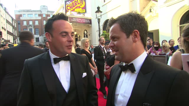 stockvideo's en b-roll-footage met exterior shot presenters ant and dec on red carpet talking about if they have ever considered going solo on may 18 2014 in london england - ant mcpartlin