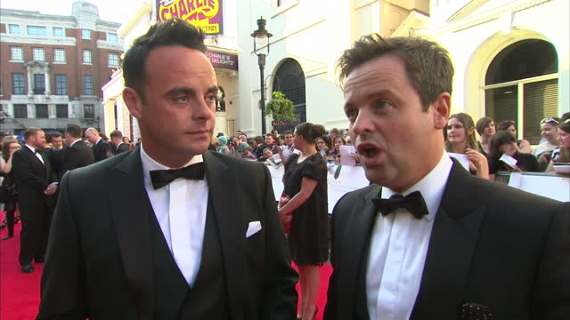 stockvideo's en b-roll-footage met exterior shot presenters ant and dec on red carpet talking about being nominated for bafta award again and not taking it for granted on may 18 2014... - ant mcpartlin