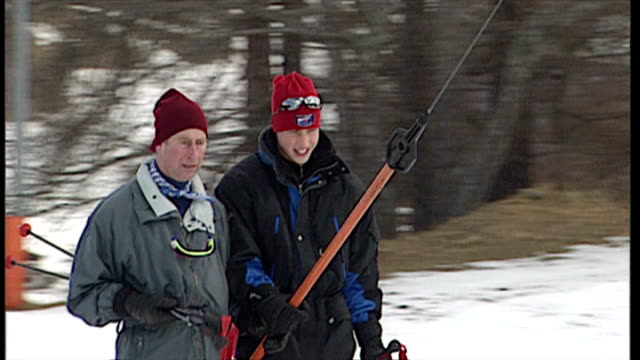 Exterior shot Prince Charles and Prince William on ski lift Royals at Klosters at Klosters on January 02 1998 in Switzerland