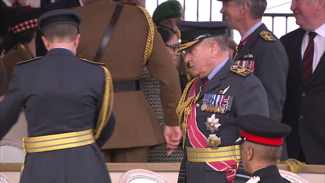 exterior shot priti patel, secretary of state for international development talking to man in decorated uniform in stalls at a war memorial service... - war memorial stock videos & royalty-free footage
