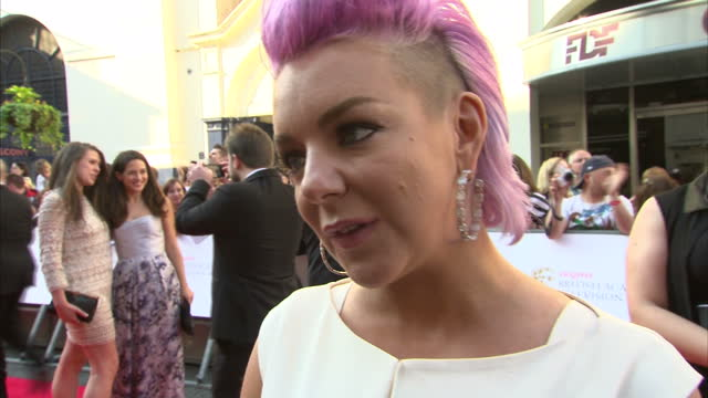 exterior shot sheridan smith actress on red carpet talking about what it feels like to be nominated and making a fool of herself last year when she... - sheridan smith stock videos & royalty-free footage