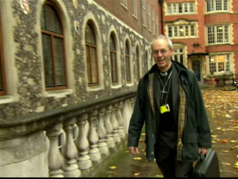 exterior shot the bishop of durham archbishop of canterbury in waiting justin welby arrives at the general synod justin welby arrives at the synod on... - archbishop stock videos & royalty-free footage