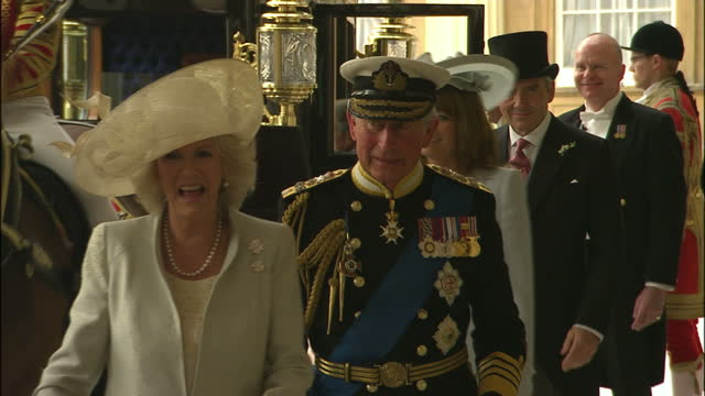 exterior shot the duke of york & his daughter princess eugenie depart in carriage. exterior shots prince charles, camilla, duchess of cornwall,... - 1 minute or greater stock videos & royalty-free footage