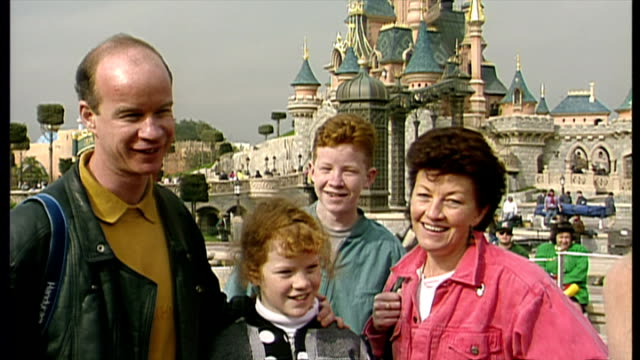 exterior shot voxpop with tourists on their experience of the new euro disney resort on opening weekend on april 11 1992 in paris france - disney stock videos and b-roll footage