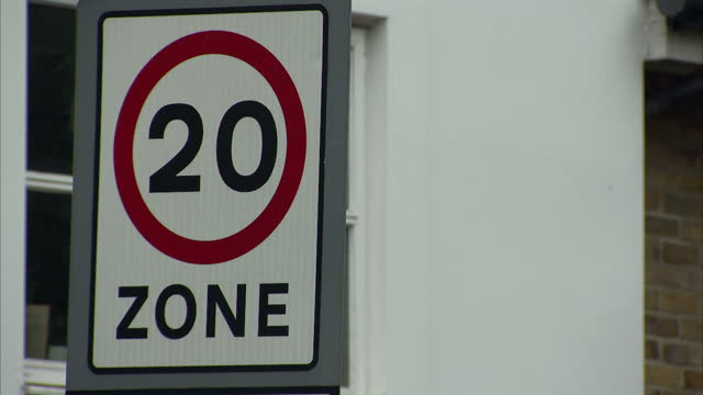 Exterior shots 20 is plenty twenty miles per hour speed zone banner stockshots in Lambeth London England on 15th October 2017