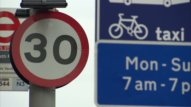 Exterior shots 30 mph miles per hour speed limit zone warning sign on road stockshots in Lambeth London England on 15th October 2017