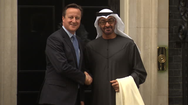 exterior shots abu dhabi crown prince mohammed al bin zayed al nahyan arrives at downing street for meeting with david cameron british prime minister... - crown prince stock videos & royalty-free footage