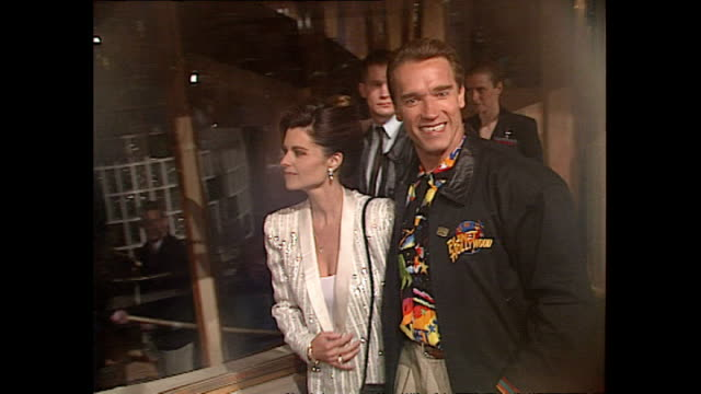 Exterior shots Actor Arnold Schwarzenegger and wife Maria Shriver at Opening of Planet Hollywood Restaurant in London on May 17 1993 in London England