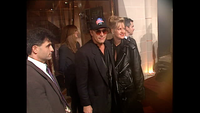 Exterior shots Actor Don Johnson and actress Melanie Griffith at Opening of Planet Hollywood Restaurant in London on May 17 1993 in London England
