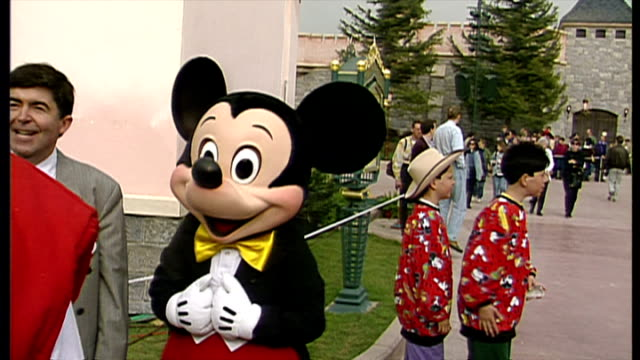 exterior shots actor dressed mickey mouse character at euro disney resort on april 11 1992 in paris france - disney stock videos and b-roll footage