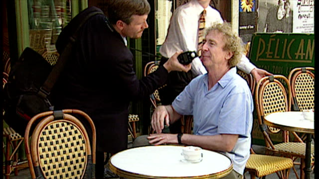 exterior shots actor gene wilder promoting laughter on the 23rd floor play on july 22 1996 in london england - gene wilder stock videos and b-roll footage