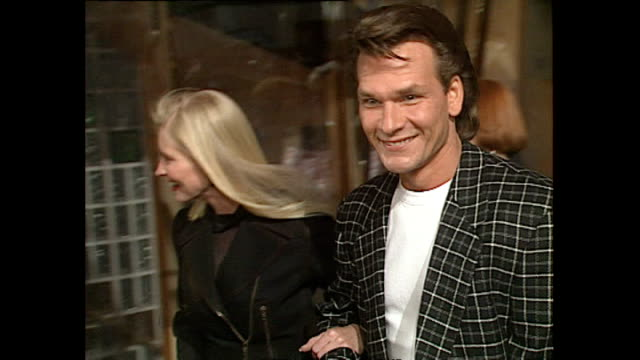 Exterior shots Actor Patrick Swayze and wife Lisa Niemi at Opening of Planet Hollywood Restaurant in London on May 17 1993 in London England