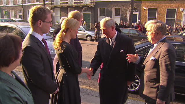 exterior shots actress gillian anderson welcomes prince charles the prince of wales and camilla duchess of cornwall to the charles dickens museum... - gillian anderson stock videos & royalty-free footage
