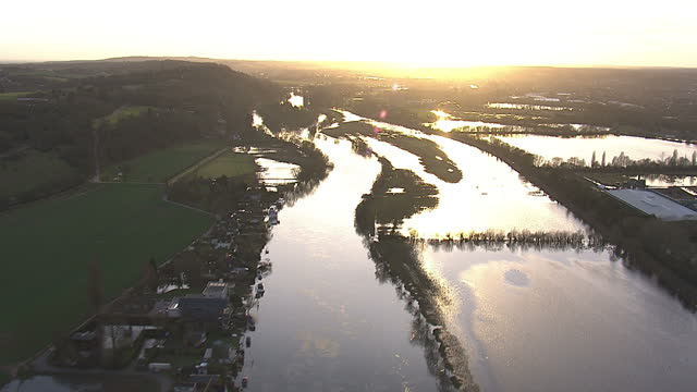 Exterior shots aerials the Thames flooded with high water covering surrounding area on February 22 2014 in Various Cities United Kingdom