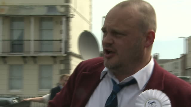 exterior shots al murray, pub landlord, talking to press about his south thanet defeat, funny on may 08, 2015 - al murray stock videos & royalty-free footage