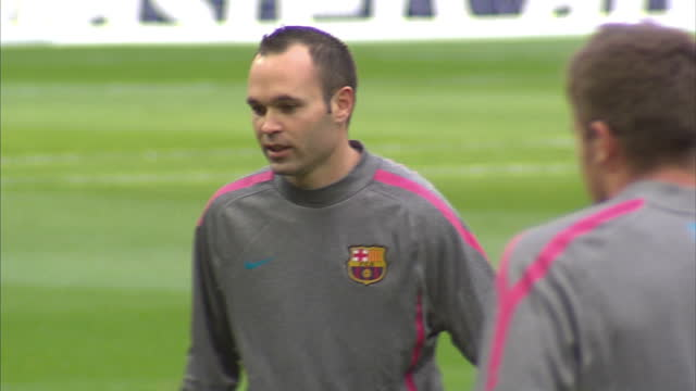 Exterior shots Andres Iniesta training with Barcelona squad at Wembley stadium ahead of the 2011 UEFA Champions League Final on May 27 2011 in...