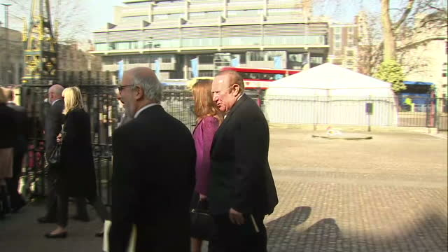 stockvideo's en b-roll-footage met exterior shots andrew neil departing memorial service on march 13 2014 in london england - andrew neil