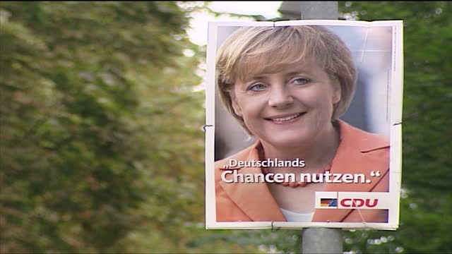 exterior shots angela merkel cdu campaigning posters in templin on august 23 2005 in templin germany - 2005 stock videos & royalty-free footage