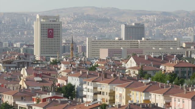 Exterior shots Ankara city skyline with large Turkish flags flying from buildings on July 26 2016 in Ankara Turkey