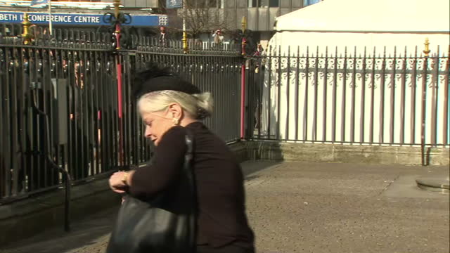 exterior shots ann widdecombe leaving memorial service. on march 13, 2014 in london, england. - ann widdecombe stock videos & royalty-free footage