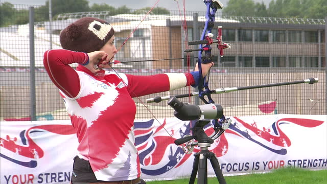 Exterior shots Archery training at Paralympic Training Camp Bath including Danielle Brown British Paralympic Archers Training on August 26 2011 in...