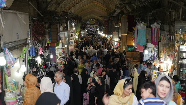 Exterior shots around the bustling Grand Bazaar in Tehran as shoppers go about their daily lives on July 29 2016 in Tehran Iran