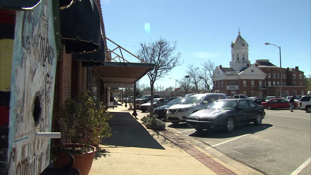 Exterior shots around the historic main street of Monroeville with traditional buildings and traffic passing through on February 18 2015 in...