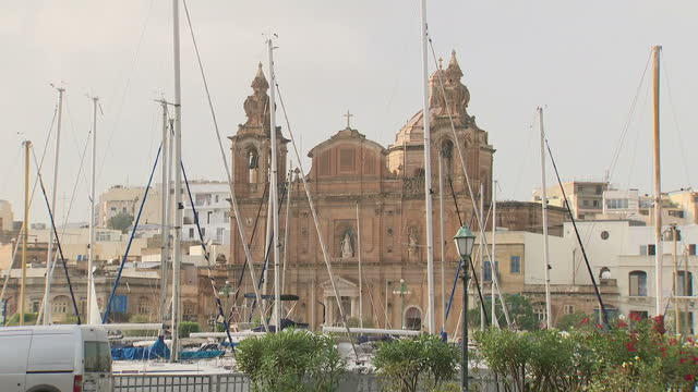 Exterior shots around Valetta including the Basilica of Our Lady of Mount Carmel and harbour area on 4 October 2017 in Valetta Malta