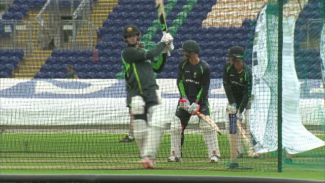 Exterior shots Australian Cricket team training in nets on pitch at the Swalec Stadium ahead of the first Ashes Test match on July 07 2015 in Cardiff...