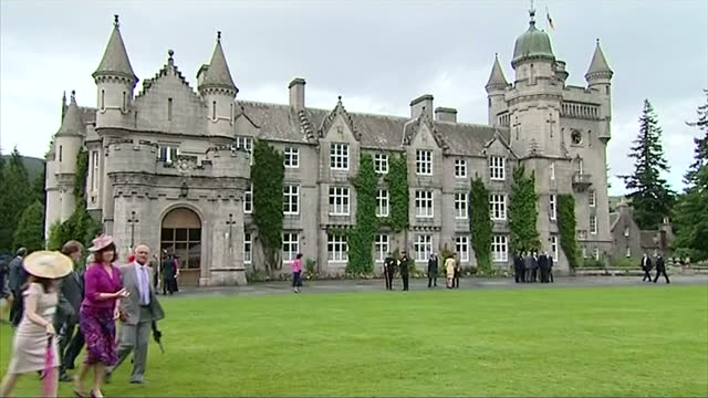 exterior shots balmoral castle with guests walking around the grounds balmoral castle exteriors on august 07 2012 in royal deeside scotland - grounds stock videos & royalty-free footage