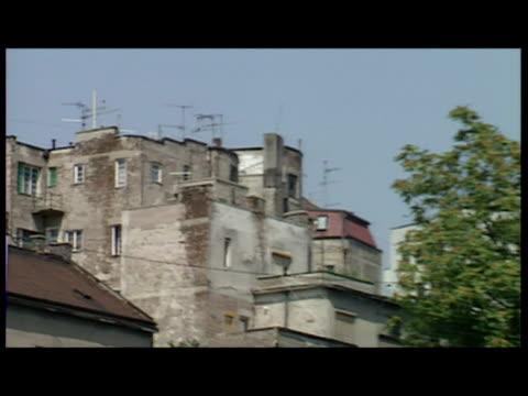 exterior shots belgrae streetscenes general views people in street and yugobank building belgrade general views on august 08 1991 in belgrade... - 旧ユーゴスラビア点の映像素材/bロール