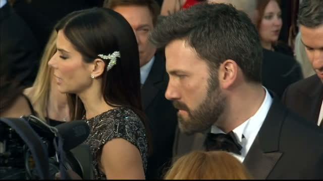 exterior shots ben affleck chats to reporters on the red carpet at dolby theatre on february 24 2013 in hollywood california - ben affleck stock videos & royalty-free footage