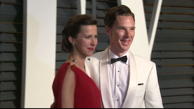 Exterior shots Benedict Cumberbatch Sophie Hunter posing on February 22 2015 in Los Angeles California