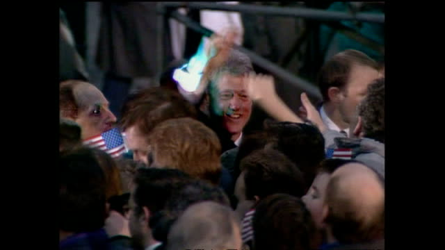 exterior shots bill & hillary clinton wlk down steps & do walkabout in crowd on november 30, 1995 in londonderry, northern ireland. - bill clinton stock videos & royalty-free footage