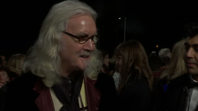 exterior shots billy connolly, comedian talking to reporter on national television awards red carpet. on january 20, 2016 in london, england. - billy connolly stock videos & royalty-free footage