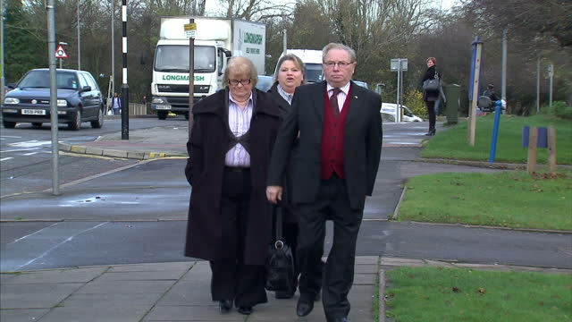 exterior shots bobby & moira roberts arrive at northampton crown court. a circus owner has been found guilty of three counts of causing unnecessary... - northampton england stock videos & royalty-free footage