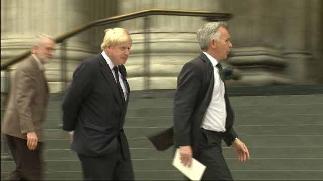 exterior shots boris johnson mp mayor of london arrives at st pauls cathedral for memorial service to remember victims of the 7/7 london bombing 10... - jihad stock videos & royalty-free footage