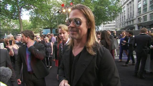 Exterior shots Brad Pitt talks about Angelina Jolie's double mastectomy at World War Z film premiere Brad Pitt Interview on June 02 2013 in London...
