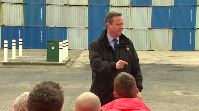 Exterior shots British Prime Minister David Cameron making speech at Felixstowe Port in support of Britain staying in EU on March 15 2016 in...
