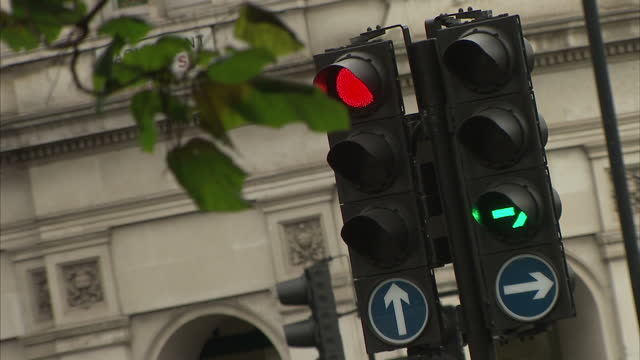 Exterior shots British traffic lights going green amber and red by road on 4th September 2017 London England
