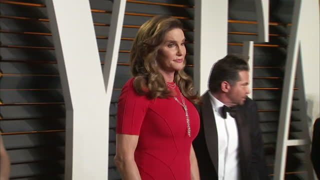 Exterior shots Caitlyn Jenner on Vanity Fair red carpet posing for photographers on February 28 2016 in Hollywood California