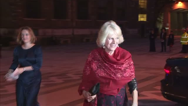 exterior shots camilla duchess of cornwall arriving at guildhall london for the 2015 man booker prize award ceremony and is greeted by guests on... - booker prize stock-videos und b-roll-filmmaterial