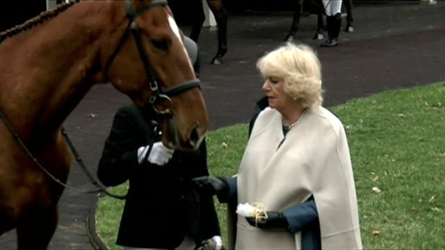 Exterior shots Camilla Duchess of Cornwall feeding racehorse during a visit to Churchill Downs racetrack on March 20 2015 in Louisville Kentucky